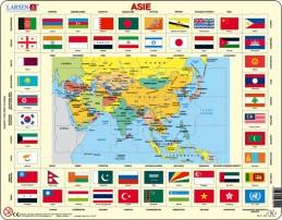 Výukové puzzle Mapa ASIE + vlajky