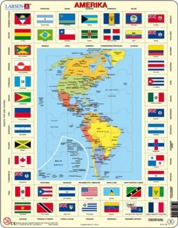 Výukové puzzle Mapa Ameriky + vlajky