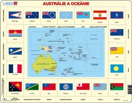 Výukové puzzle Mapa Austrálie a Oceánie + vlajky