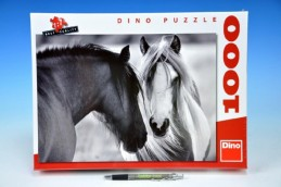 Puzzle Černobílí koně 66x47cm 1000 dílků v krabici - Rock David