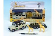 Auto Land Rover Defender kov 13cm s přívěsem a žirafou na zpětné natažení v krabičce