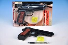 Pistole na kuličky plast 22cm s kuličkami na kartě - Teddies s.r.o