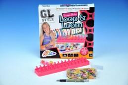 Udělej si náramek - stav na gumičky + 600 gumiček + ozdoby v krabici - Rock David