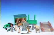 Dřevěná ZOO se zvířátky + doplňky v krabici