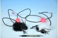 Skákající pavou plyš/plast 7cm asst 2 barvy