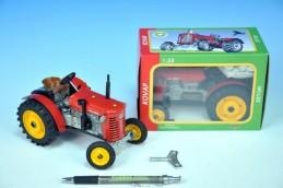 Traktor Zetor 25A červený na klíček kov 15cm 1:25 v krabičce Kovap - Rock David