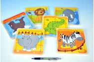 Puzzle safari zvířátka dřevo 15x15cm asst 6 druhů 10m+