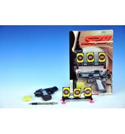 Pistole na kuličky plast 15cm + terč a kuličky na kartě