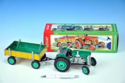 Traktor Zetor s valníkem zelený na klíček kov 28cm Kovap v krabičce - Rock David