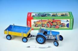 Traktor Zetor s valníkem modrý na klíček kov 28cm Kovap v krabičce - Rock David