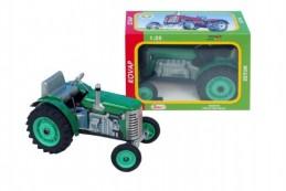 Traktor Zetor zelený na klíček kov 14cm 1:25 v krabičce Kovap - Rock David