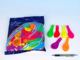 Balonek nafukovací 7 párty neon 100 ks v sáčku karneval - Rock David