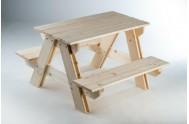 Souprava stolek + lavice dřevo