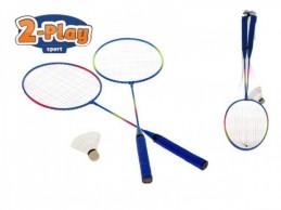 Badmintonové rakety 2ks kov s košíčkem 63cm v síťce - Rock David