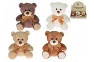 Medvěd/Medvídek s mašlí plyš 15cm sedící asst 4 barvy 9ks v DBX