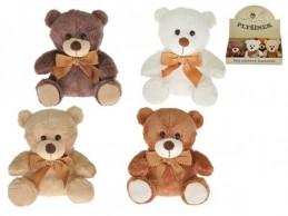 Medvěd/Medvídek s mašlí plyš 15cm sedící asst 4 barvy 9ks v DBX - Rock David