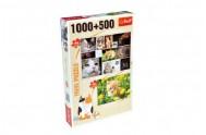 Puzzle Koťata 1000 dílků 68,3x48cm + Kotě na louce 500 dílků 48x34cm v krabici