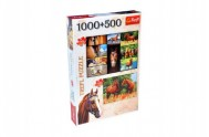 Puzzle Koně 1000 dílků 68,3x48cm + Koně na louce 500 dílků 48x34cm v krabici