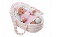 Panenka/miminko vonící 28cm růžové měkké tělo v tašce na baterie v sáčku