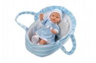 Panenka/miminko vonící měkké tělo 28cm modré v tašce  na baterie v sáčku