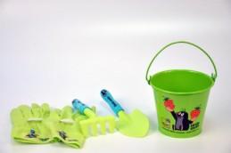 Zahradní nářadí dětské s kbelíkem průměr 15cm plast/plech Krtek - Rock David