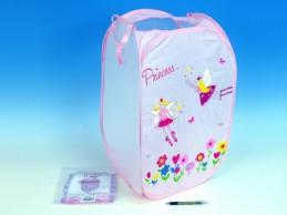 Koš na hračky Princess růžový 36x36x58cm polyester - Rock David