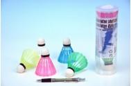 Míček na badminton barevný 5ks v tubě