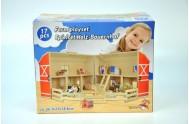Domeček farma rozkládací dřevo 17ks 34x27x18cm v krabici