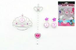 Korunka + náušnice set šperků plast na kartě karneval - Rock David