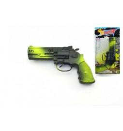 Pistole na setrvačník jiskřící plast 21cm na kartě