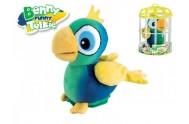 Papoušek Benny opakující slova 15cm v kleci plyš na baterie se zvukem