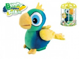 Papoušek Benny opakující slova 15cm v kleci plyš na baterie se zvukem - Rock David