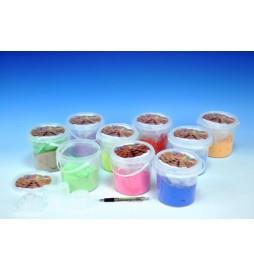 Magický písek 500g s formičkami 6ks asst 9 barev v kbelíku
