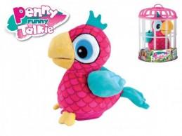 Papoušek Penny opakující slova 18cm plyš na baterie se zvukem v kleci - Rock David