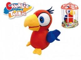 Papoušek Charlie opakující slova 15cm plyš na baterie se zvukem v kleci - Rock David