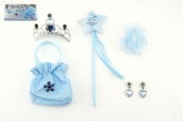Sada princezna 5ks hůlka, korunka, kabelka(pompadurka), náušnice,gumička v dárkové krabičce karneval - Rock David