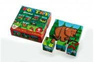 Kostky kubus dřevěné Moje první lesní zvířátka dřevo 9x9x3cm 9ks v krab.11x11x6cm od 12 měsíců MPZ