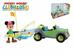 Mickey Mouse Clubhouse auto s rybářským člunem plast 20cm kloubovou figurkou s doplňky v krabičce - Rock David