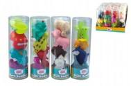 Stříkací figurky zvířátka/autíčka do vany gumová (4ks v v tubě - balení)  4 druhy