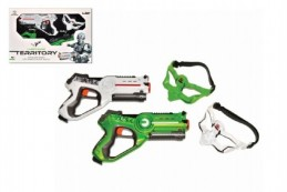 Territory laser game - double set (2 pistole, 2 masky) plast na baterie v krabici 58x38x9cm - Rock David