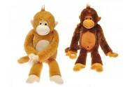 Opice plyš dlouhé nohy 60cm asst 2barvy v sáčku