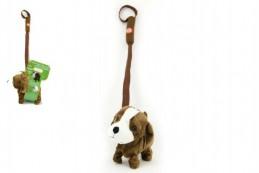 Pes na tyčce plyš 16cm chodící na baterie se zvukem - Rock David