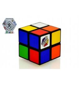 Rubikova kostka hlavolam 2x2 plast 4,5x4,5cm na kartě