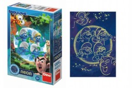 Puzzle Šmoulové 3: Kouzelný les svítící ve tmě 100XL dílků 33x47cm v krabici 18x26,5x6cm - Rock David