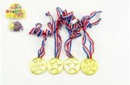 Medaile průměr 4cm 4ks plast v sáčku