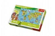 Vzdělávací puzzle mapa světa 100 dílků 60x40cm v krabici  33x23x6cm