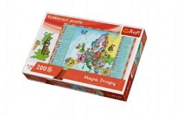 Vzdělávací puzzle mapa Evropy 200 dílků 60x40cm v krabici 33x23x6cm - Rock David
