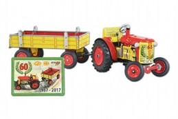 Traktor Zetor s valníkem na klíček kov 28cm Kovap v krabičce jubilejní 60 - Rock David