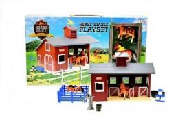 Stáj pro koně + kůň 2ks s doplňky plast v krabici 42x25x7cm - Rock David