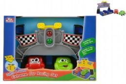 Závodní sada autíčka 2ks 9cm plast na baterie se zvukem se světlem v krabici - Rock David